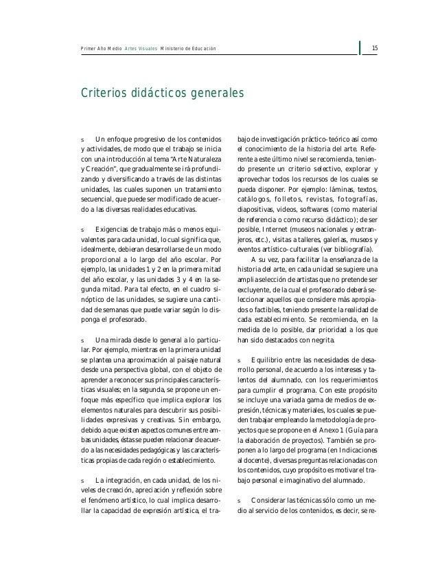 17Primer Año Medio Artes Visuales Ministerio de Educación Criterios generales de evaluación LOS PROCESOS Y PRODUCTOS artís...