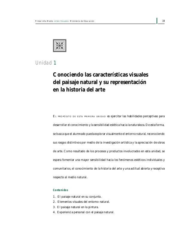 21Unidad 1: Conociendo las características visuales del paisaje natural y su representación en la historia del arte Para f...