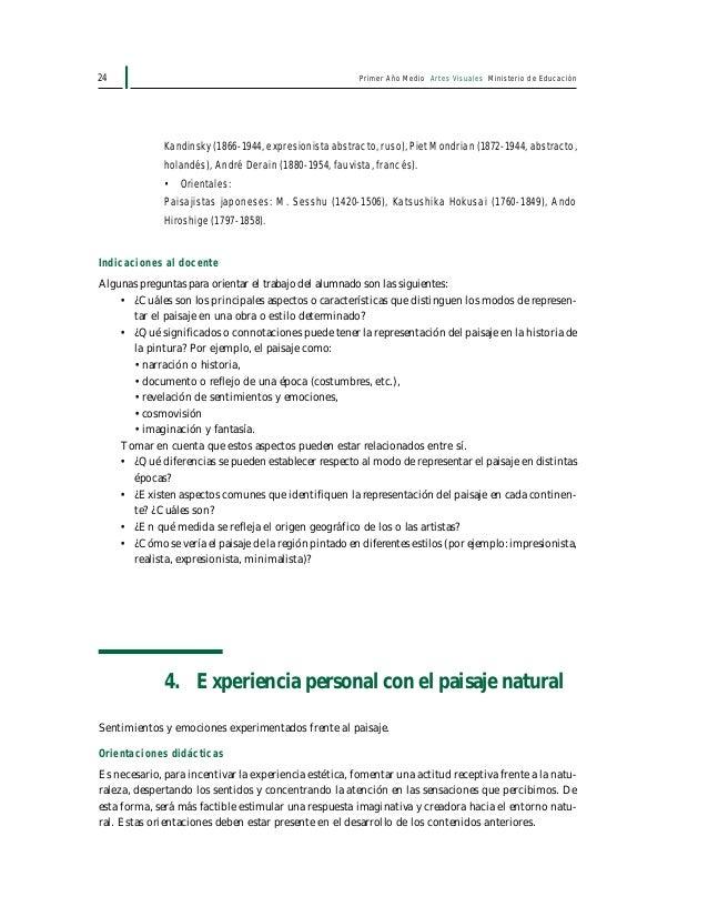 Primer Año Medio Artes Visuales Ministerio de Educación26 Además se sugiere, según sea el caso, considerar las recomendaci...