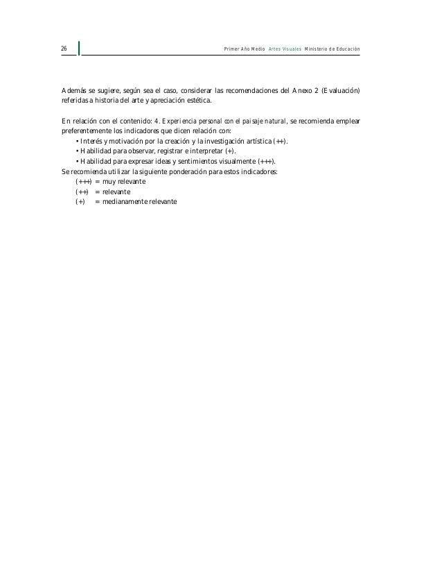 Primer Año Medio Artes Visuales Ministerio de Educación28 1. Elementos materiales y animados Arboles, frutos, semillas, an...
