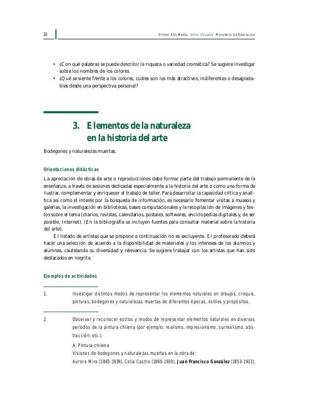 Primer Año Medio Artes Visuales Ministerio de Educación32 4. Experiencia personal con los elementos del entorno natural Se...