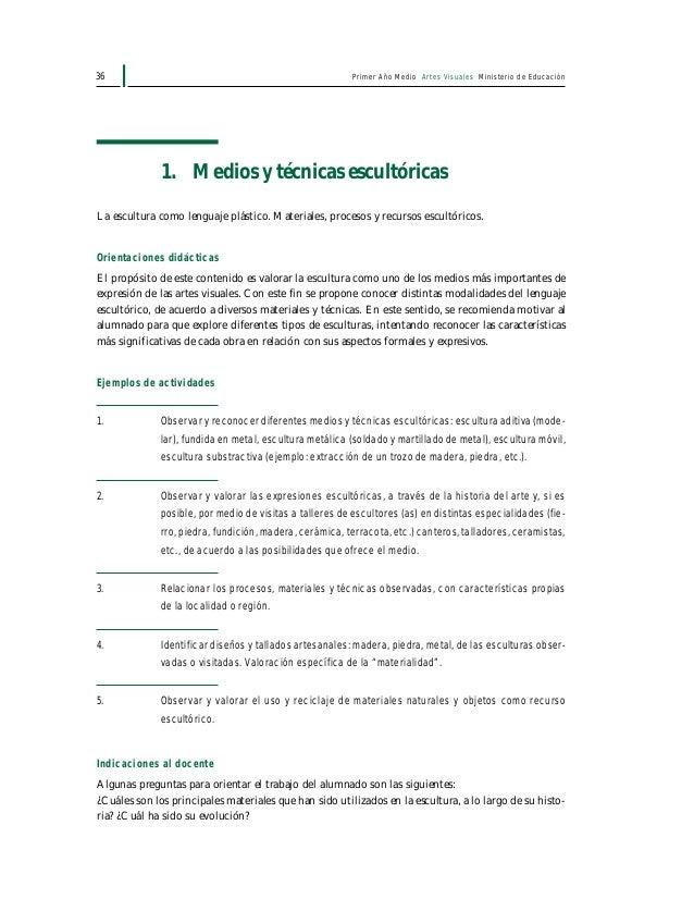 Primer Año Medio Artes Visuales Ministerio de Educación38 • Análisis y selección del material investigado con el objeto de...