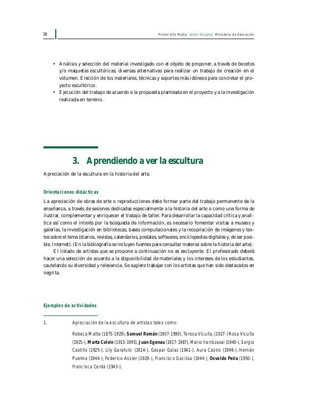 Primer Año Medio Artes Visuales Ministerio de Educación40 ¿Qué artistas, qué escultura(s) son las que más interesan o gust...