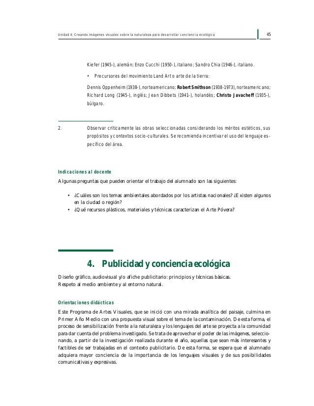 47Unidad 4: Creando imágenes visuales sobre la naturaleza para desarrollar conciencia ecológica Además se sugiere utilizar...