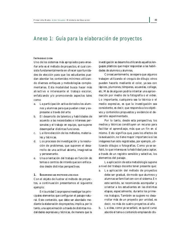 51Primer Año Medio Artes Visuales Ministerio de Educación conviene que haya autoevaluación con el objeto de obtener mayore...
