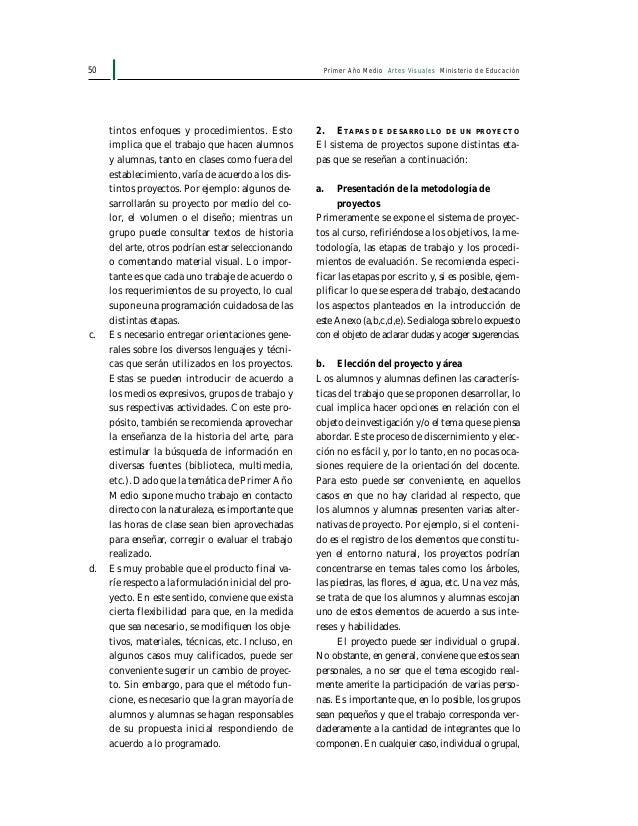 52 Primer Año Medio Artes Visuales Ministerio de Educación Ficha de inscripción de proyectos 1. Nombre 2. Curso 3. Nombre ...