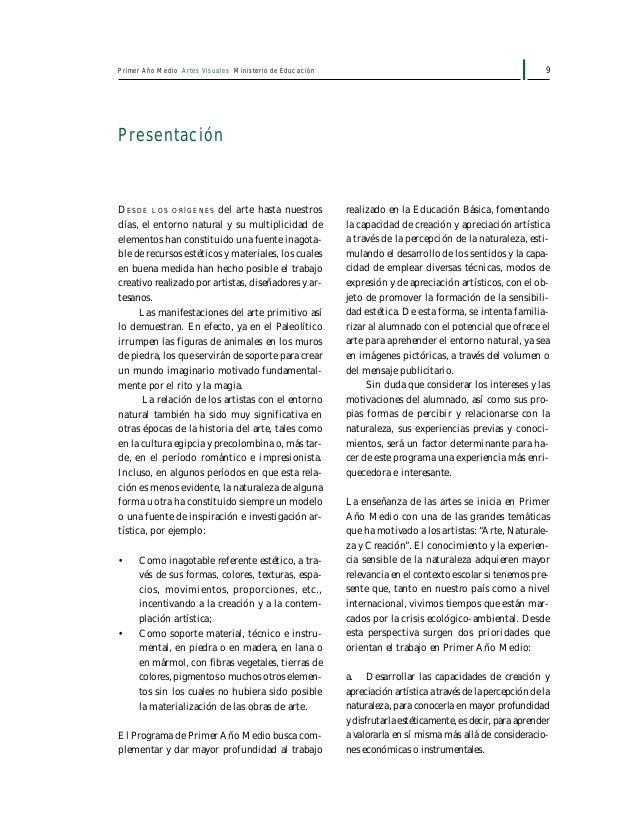 11Primer Año Medio Artes Visuales Ministerio de Educación Objetivos Fundamentales Transversales y su presencia en el progr...