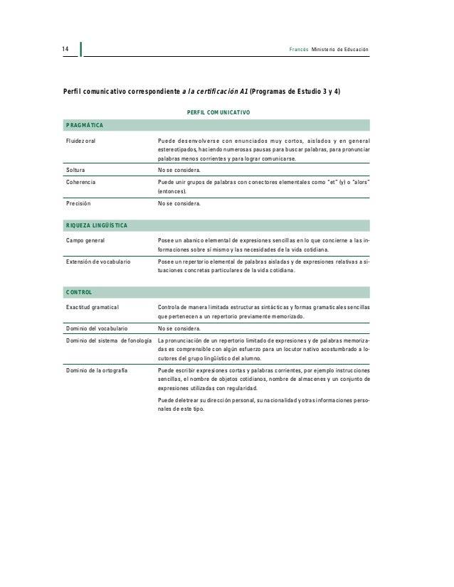 Francés Ministerio de Educación 15 Perfil comunicativo correspondiente a la certificación A2 (Programas de Estudio 5 y 6) ...