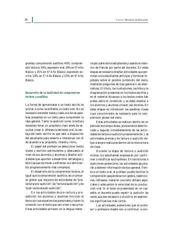 Francés Ministerio de Educación 21 solidar léxico y patrones de lenguaje, y a forta- lecer la confianza de sus estudiantes...