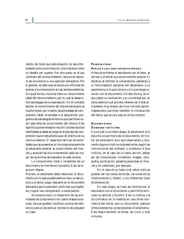 Francés Ministerio de Educación 25 TERCERA ETAPA: LEER O ESCUCHAR CON UN OBJETIVO En esta tercera etapa, el estudiante lee...