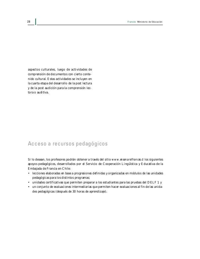 Francés Ministerio de Educación 29 Estructura de los programas El siguiente esquema ordena cada uno de los programas que c...