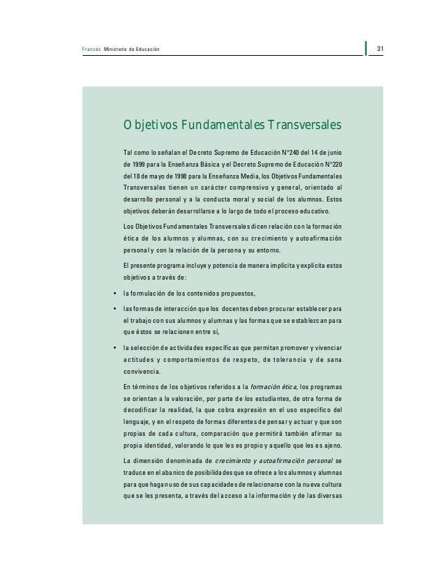 Francés Ministerio de Educación32 formas que se le proponen para procesarla y, también, para expresar deseos, sentimientos...