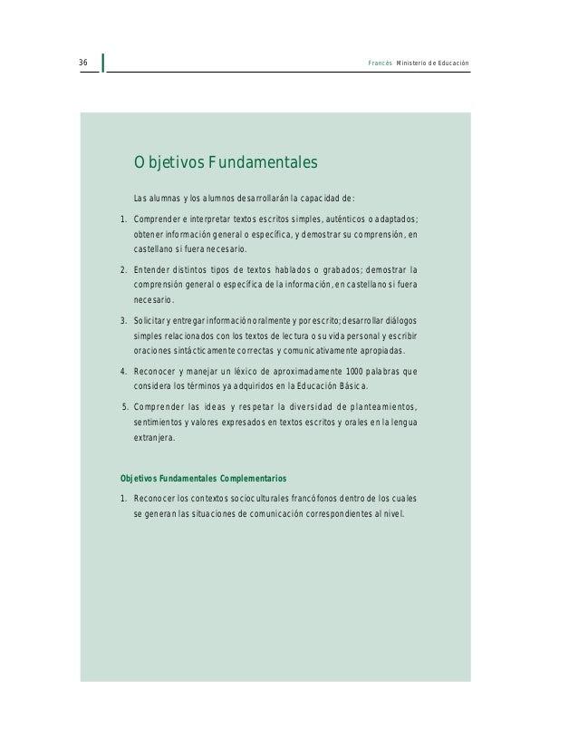 38 Francés Ministerio de Educación II. TEXTOS-TIPO 1. Comprensión lectora • Textos, auténticos o adaptados, de tipo instru...