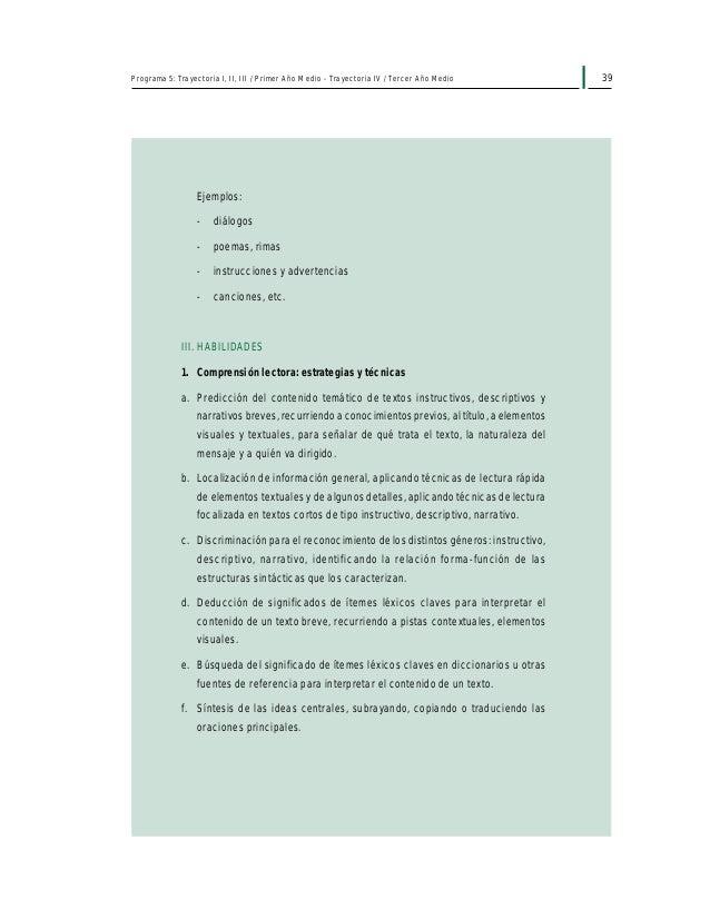41Programa 5: Trayectoria I, II, III / Primer Año Medio - Trayectoria IV / Tercer Año Medio Aprendizajes esperados El alum...