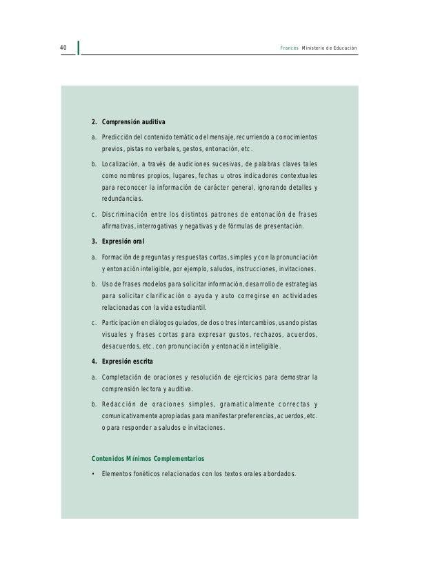42 Francés Ministerio de Educación • Entender breves situaciones de comunicación siendo guiado por un cuestionario. El alu...