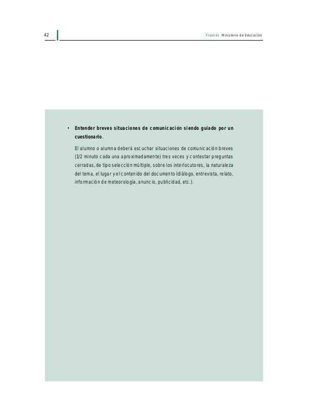 44 Francés Ministerio de Educación Actividades por habilidad y su distribución temporal Cuadro sinóptico Comprensión lecto...