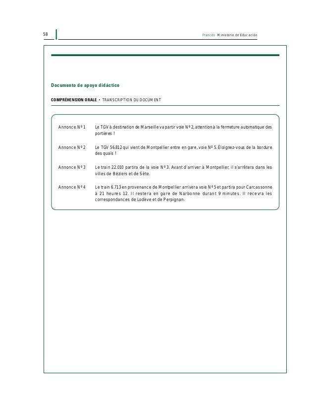 60 Francés Ministerio de Educación UNIDAD PEDAGÓGICA 1 DESARROLLO DE LA LECCIÓN ACTIVIDAD 1: COMPRENSIÓN LECTORA • Secuenc...