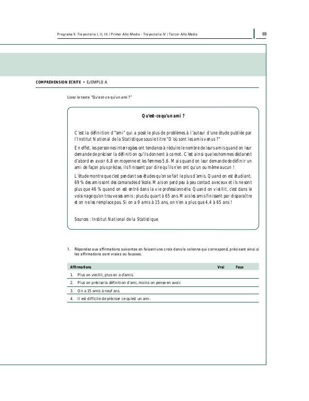 71Programa 5: Trayectoria I, II, III / Primer Año Medio - Trayectoria IV / Tercer Año Medio EXPRESSION ÉCRITE • EJEMPLO C ...