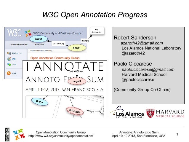 W3C Open Annotation Progress                                               Robert Sanderson                               ...