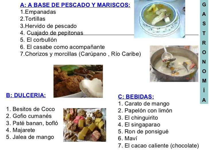 A: A BASE DE PESCADO Y MARISCOS: 1.Empanadas 2.Tortillas 3.Hervido de pescado 4. Cuajado de pepitonas 5. El corbullón 6. E...