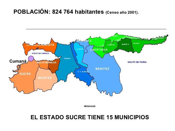 EL ESTADO SUCRE TIENE 15 MUNICIPIOS POBLACIÓN: 824 764 habitantes  (Censo año 2001).  Cumaná VALDEZ MARIÑO CA J IGAL ARISM...