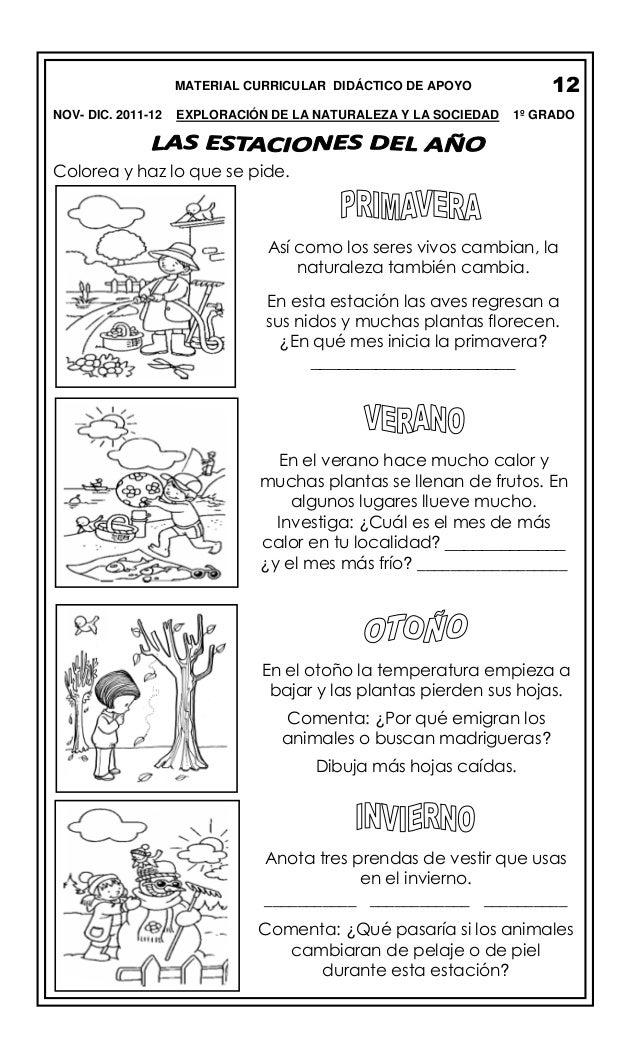 12  MATERIAL CURRICULAR DIDÁCTICO DE APOYO NOV- DIC. 2011-12  EXPLORACIÓN DE LA NATURALEZA Y LA SOCIEDAD  1º GRADO  Colore...