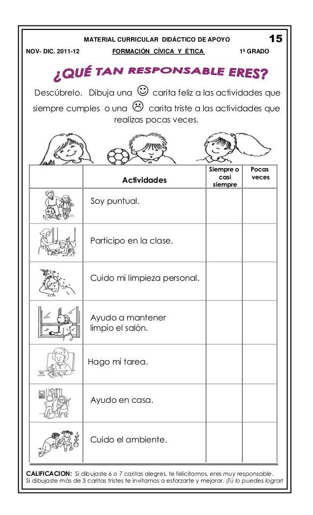 MATERIAL CURRICULAR DIDÁCTICO DE APOYO NOV- DIC. 2011-12  FORMACIÓN CÍVICA Y ÉTICA  Descúbrelo. Dibuja una  15 1º GRADO  ...