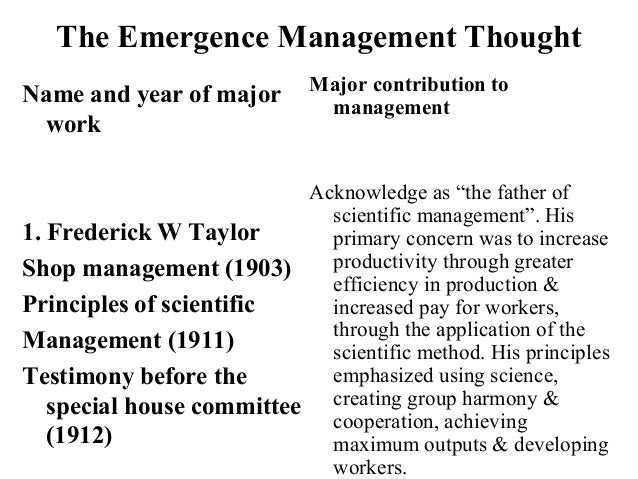 The Emergence Management Thought Name and year of major work 1. Frederick W Taylor Shop management (1903) Principles of sc...