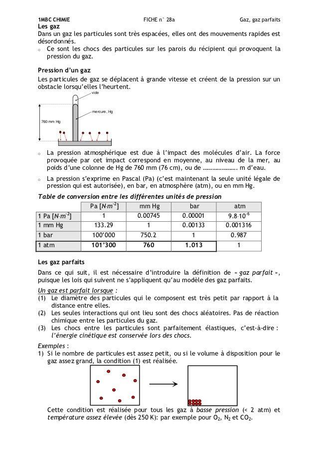1MBC CHIMIE                           FICHE n° 28a                     Gaz, gaz parfaitsLes gazDans un gaz les particules ...