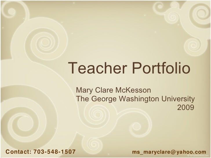1 mckesson teacher portfolio for Teaching portfolio template free