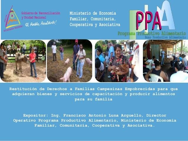 Restitución de Derechos a Familias Campesinas Empobrecidas para que adquieran bienes y servicios de capacitación y produci...