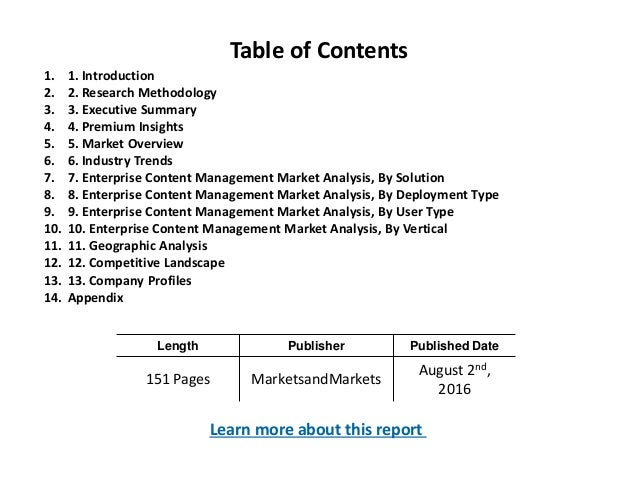 Length Publisher Published Date 151 Pages MarketsandMarkets August 2nd, 2016 Table of Contents 1. 1. Introduction 2. 2. Re...