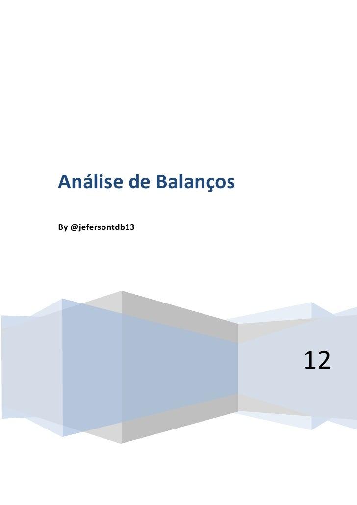 Análise de BalançosBy @jefersontdb13                                            12                    By @jefersontdb13   0