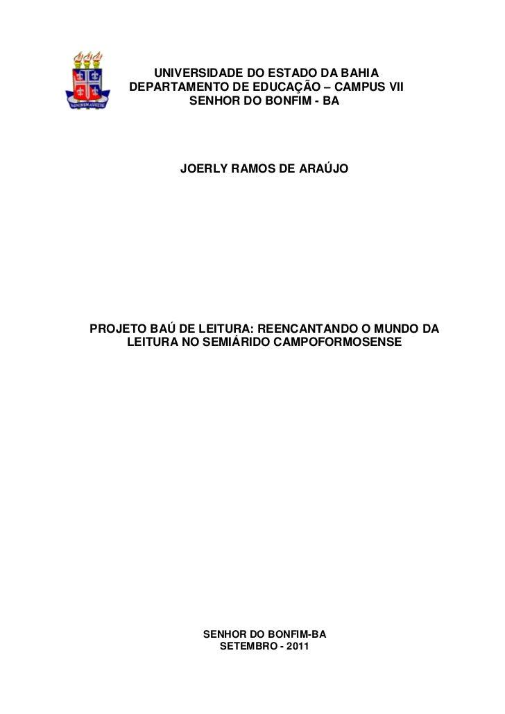 1        UNIVERSIDADE DO ESTADO DA BAHIA     DEPARTAMENTO DE EDUCAÇÃO – CAMPUS VII             SENHOR DO BONFIM - BA      ...