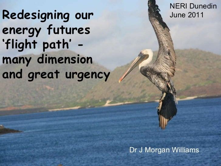 Redesigning our energy futures 'flight path' - many dimension and great urgency NERI Dunedin June 2011 Dr J Morgan Williams