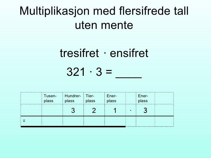 Multiplikasjon med flersifrede tall uten mente tresifret  ∙ ensifret 321  ∙ 3 = ____ = 3 · 1 2 3 Ener-plass Ener-plass Tie...