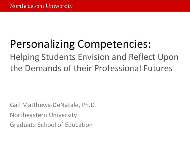 Personalizing Competencies: Helping Students Envision and Reflect Upon the Demands of their Professional Futures Gail Matt...