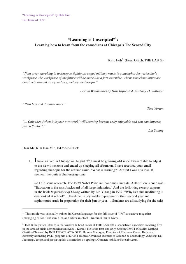 """""""Learning is Unscripted"""" by Hoh Kim Fall Issue of """"1/n"""" """"Learning is Unscripted""""1 : Learning how to learn from the comedia..."""
