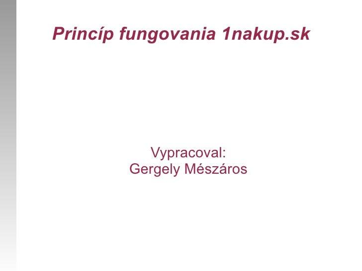 Princíp fungovania 1nakup.sk Gergely Mészáros