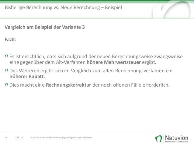 Neue Umsatzsteuerliche Berechnungsgrundlage Des Gemeinderabatts