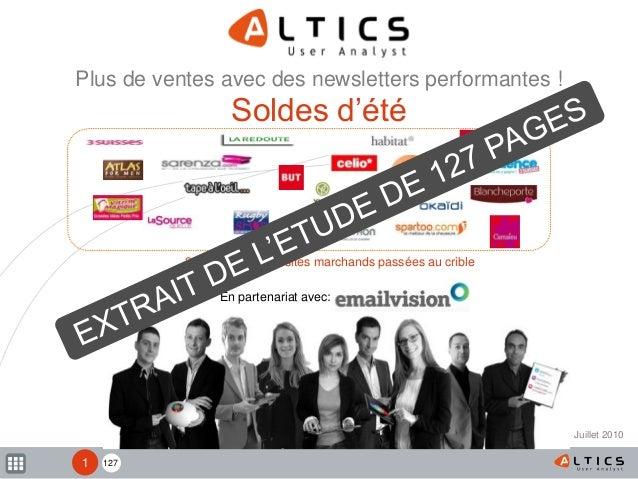 127 20 newsletters de sites marchands passées au crible Une étude ALTICS, en partenariat avec Plus de ventes avec des news...