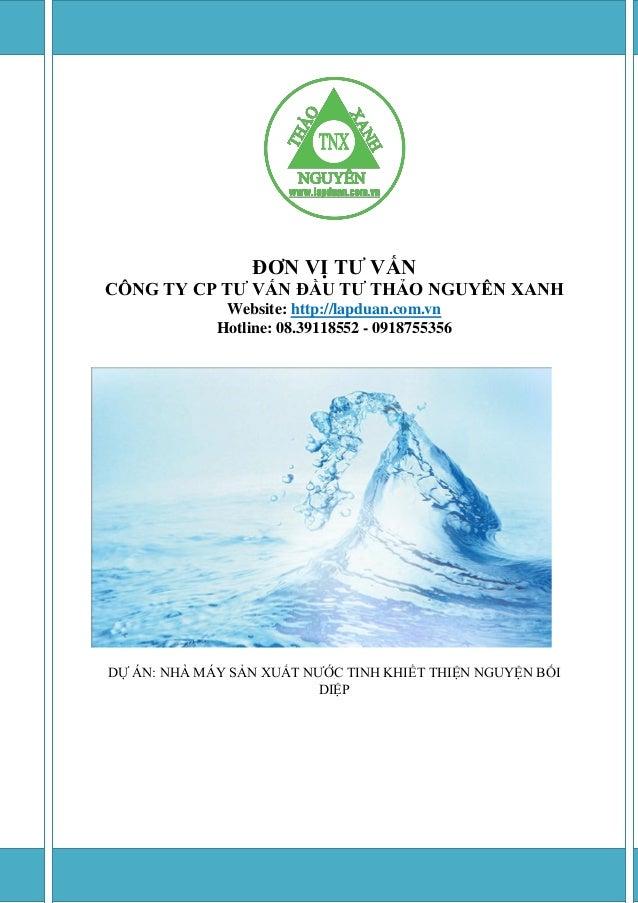 ĐƠN VỊ TƢ VẤN  CÔNG TY CP TƢ VẤN ĐẦU TƢ THẢO NGUYÊN XANH  Website: http://lapduan.com.vn  Hotline: 08.39118552 - 091875535...