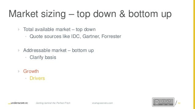 Proprietary and Confidential Market sizing – top down & bottom up  Total available market – top down • Quote sources like...