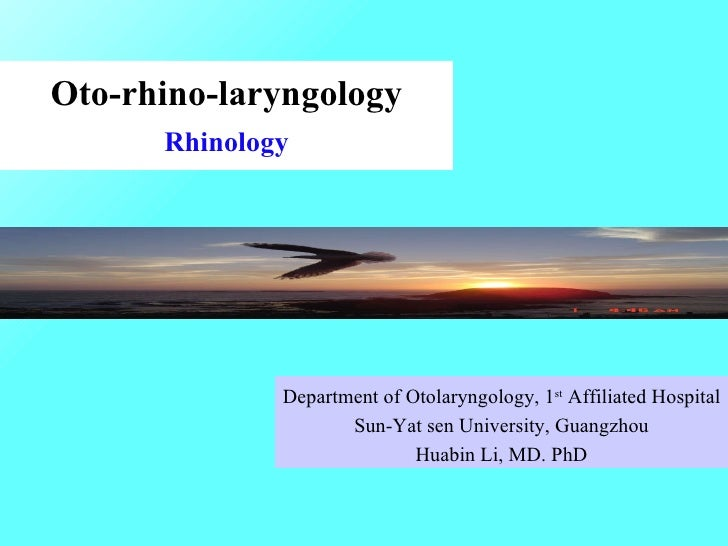 Oto-rhino-laryngology Rhinology Department of Otolaryngology, 1 st  Affiliated Hospital Sun-Yat sen University, Guangzhou ...