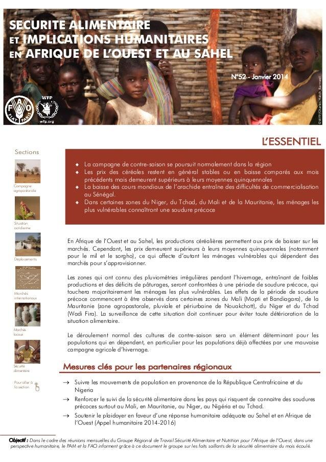 N°52 - Janvier 2014  ©WFP/Charles Hatch_Barnwel  SECURITE ALIMENTAIRE ET IMPLICATIONS HUMANITAIRES EN AFRIQUE DE L'OUEST E...