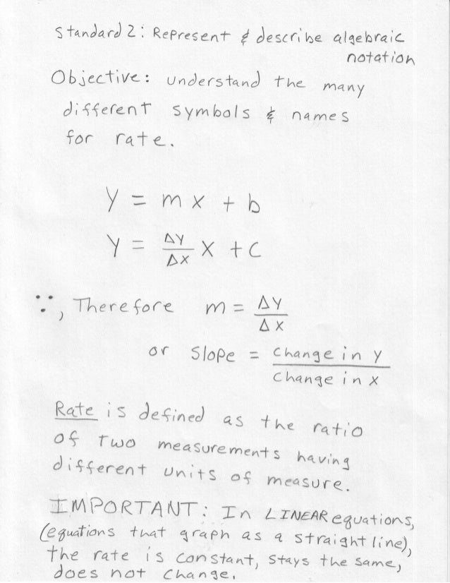 1 Notes Constant Rate in Equations Algebra