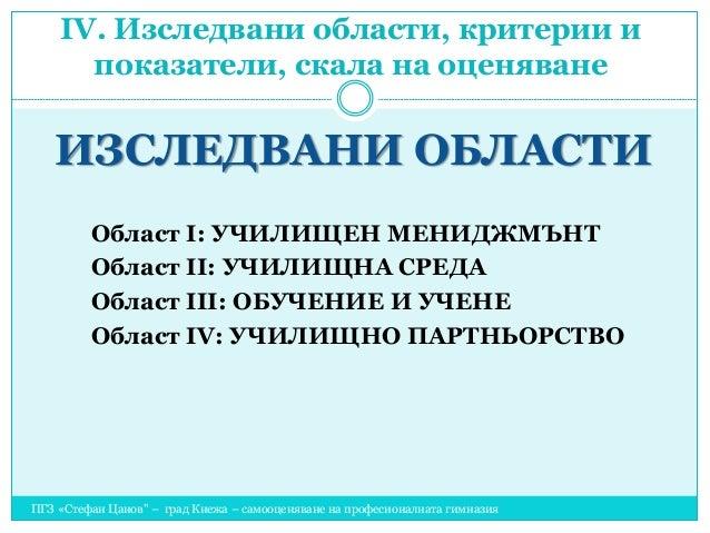 """ІV. Изследвани области, критерии и показатели, скала на оценяване ПГЗ «Стефан Цанов"""" – град Кнежа – самооценяване на профе..."""