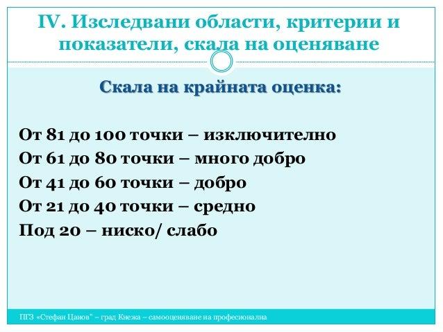 """ПГЗ «Стефан Цанов"""" – град Кнежа – самооценяване на професионална гимназия Скала на крайната оценка: От 81 до 100 точки – и..."""