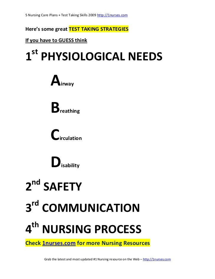 5 Nursing Care Plans and Test Taking Skills
