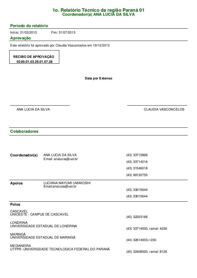 1o. Relatório Técnico da região Paraná 01 Coordenador(a) ANA LUCIA DA SILVA Período do relatório Início: 21/03/2013 Fim: 3...